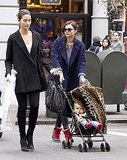 Lily Aldridge and Miranda Kerr to baby Flynn for a walk.