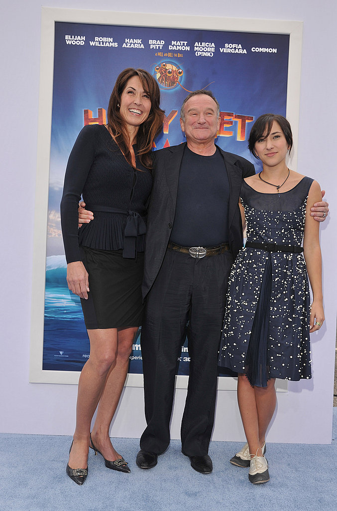 Robin Williams put his arms around his wife, Susan Schneider and his daughter, Zelda Williams.