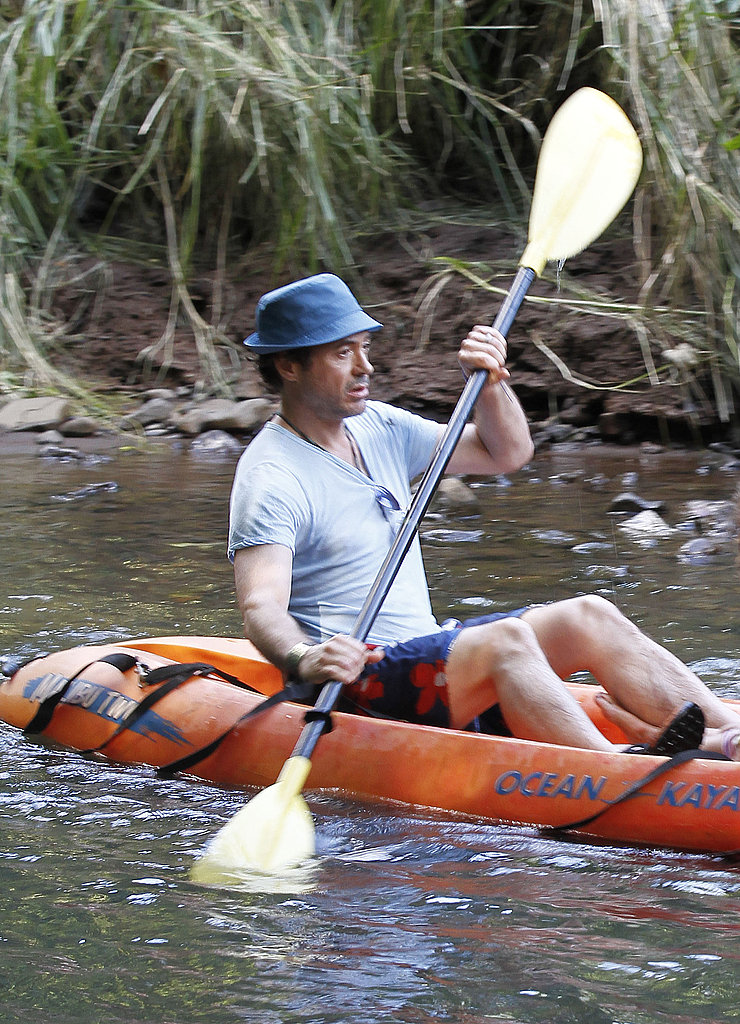 Robert Downey Jr. kayaking in Kauai.