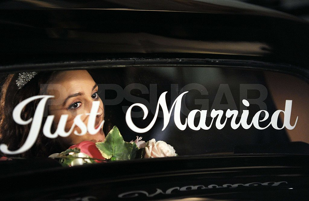 """Leighton gazed over the """"just married"""" sign on the car."""