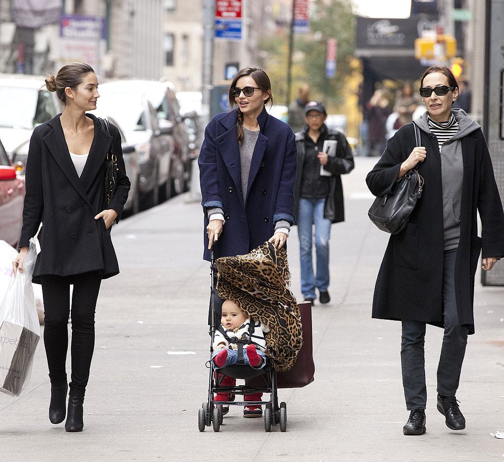 Lily Aldridge and Miranda Kerr walked and talked with baby Flynn.