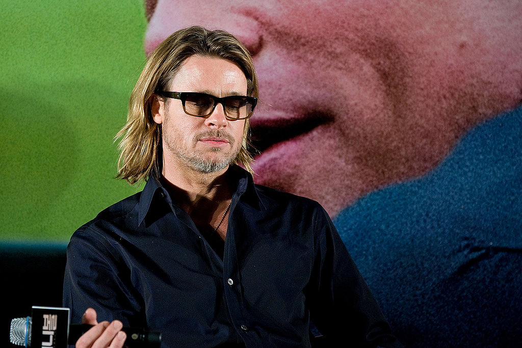 Brad Pitt rocked long hair while promoting Moneyball in South Korea.