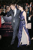 Kristen Stewart showed leg while leaving the carpet with Robert Pattinson.