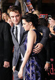 Robert Pattinson made sure his arm reached around Kristen Stewart.