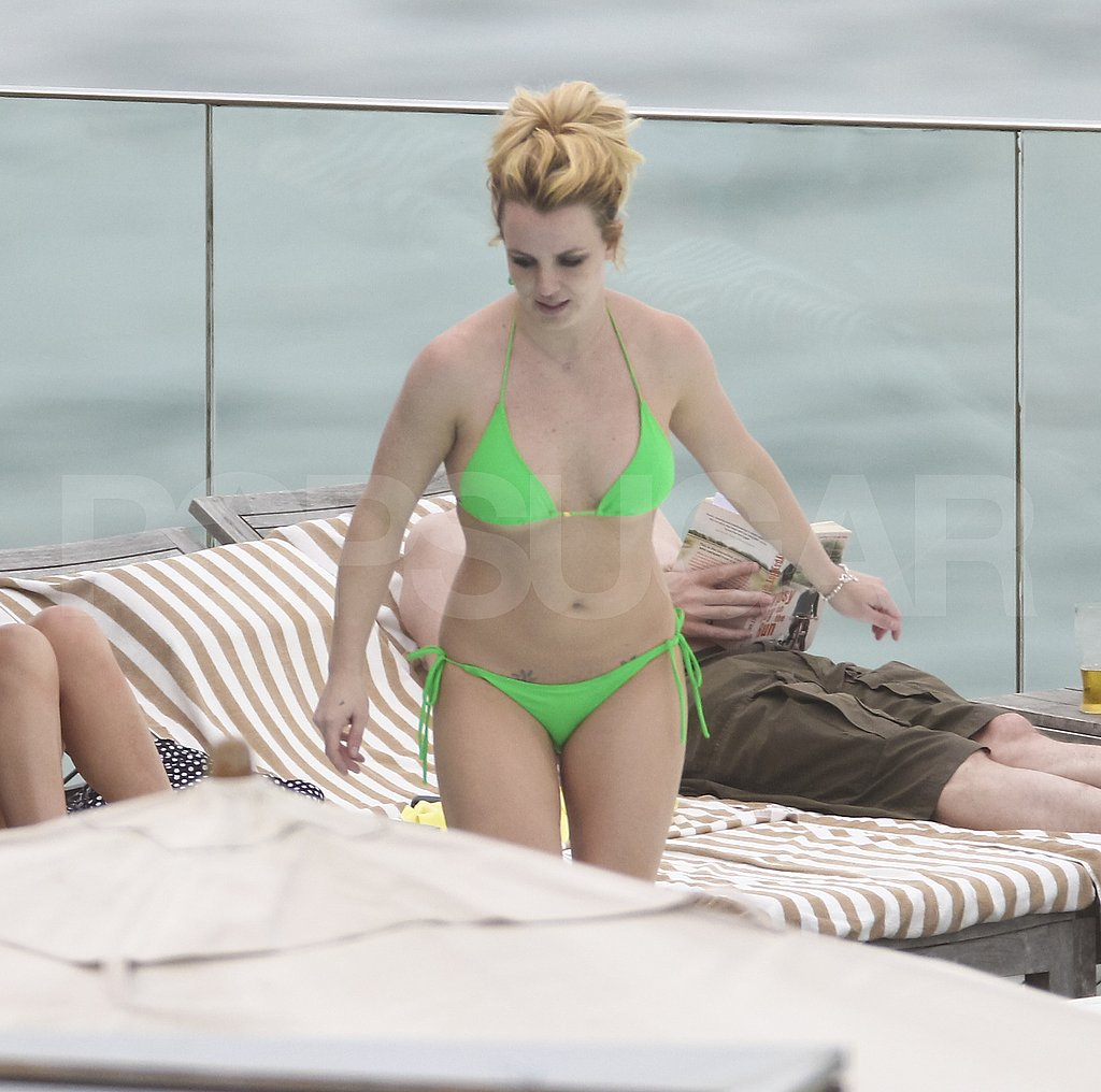 Britney Spears in her little green bikini.