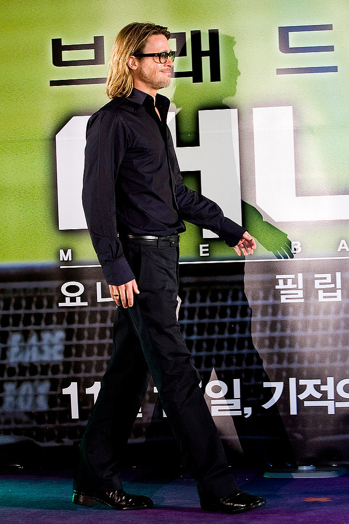 Brad Pitt took the stage at a Seoul press conference for his movie Moneyball.