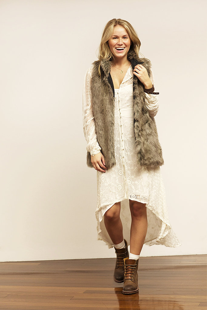 Giving the urban prairie look a Brooklyn twist, the Sabrina 6G along with the super girlie cotton eyelet dress and faux fur vest create another solid look that can take you from a classy brunch to Saturday night at your favorite dive bar.