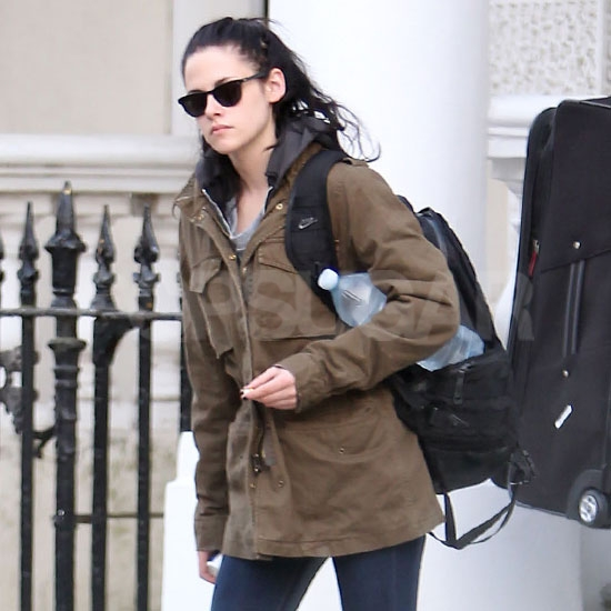 Kristen Stewart carried a huge water bottle.