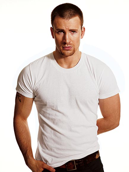 Chris Evans can make a plain white t-shirt look pretty good.