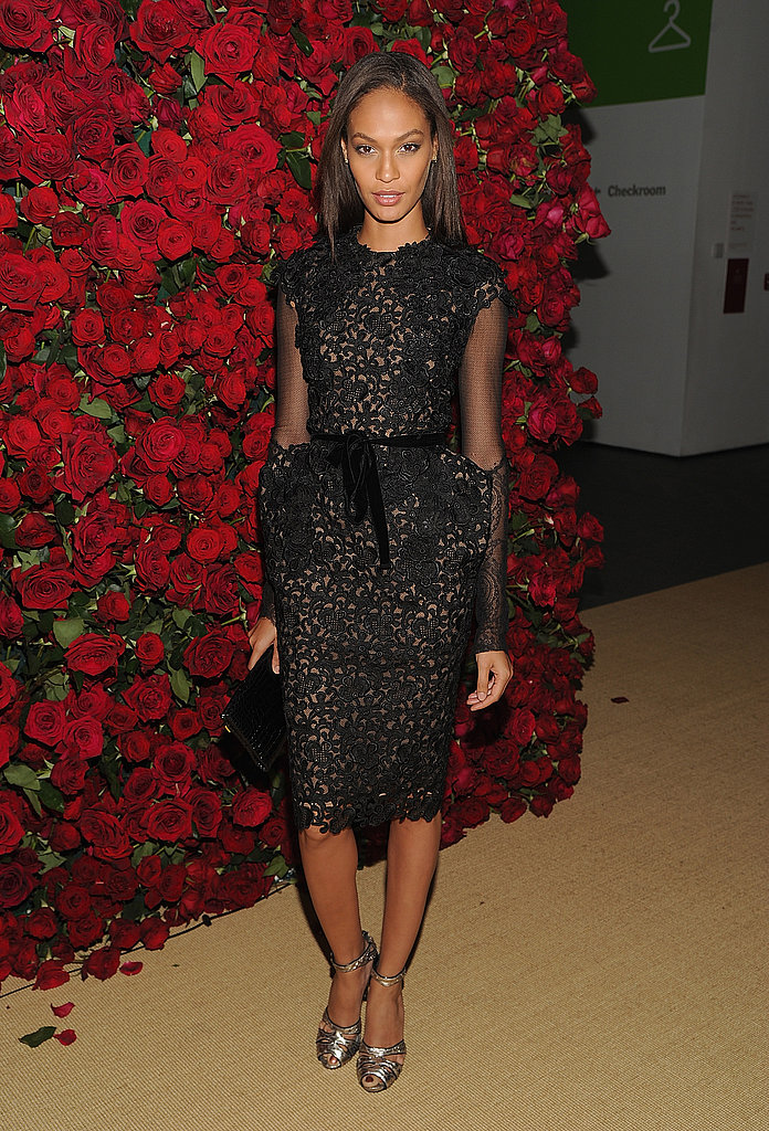 Joan Smalls in a little black dress.