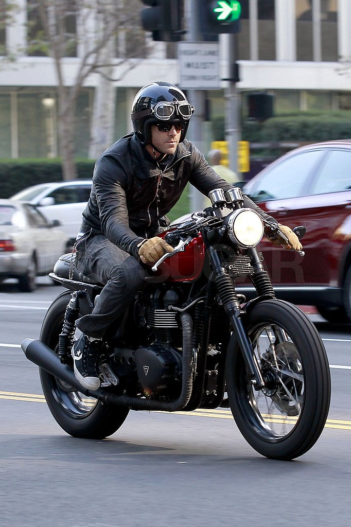 Ryan Reynolds left the LA set of Safe House on his motorcycle.