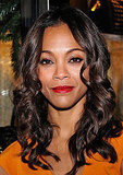 Zoe Saldana added a pop of color to her lips.