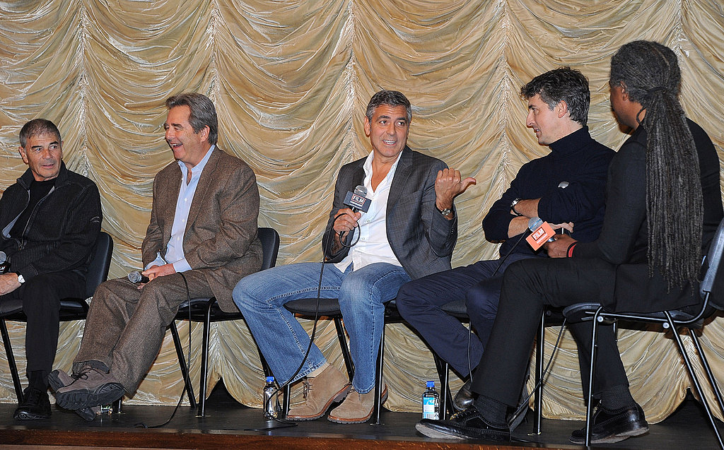 George Clooney pointed to his director, Adam Payne.