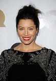 Jessica Biel wore pretty red lipstick.