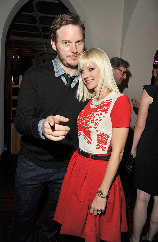 Chris Pine and Anna Faris had a good time at GQ's Men of the Year party.