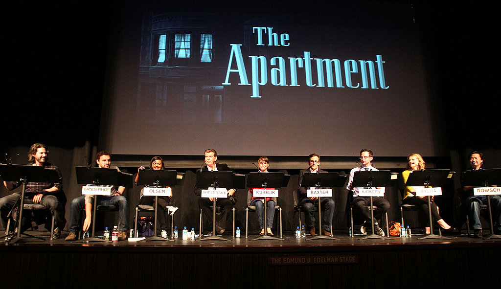 Natalie Portman, Steve Carrell, Pierce Brosnan, Jason Reitman, Nick Kroll, Mindy Kaling, Collette Wolfe, Ken Jeong, and Jake Johnson at an LA reading of The Apartment.