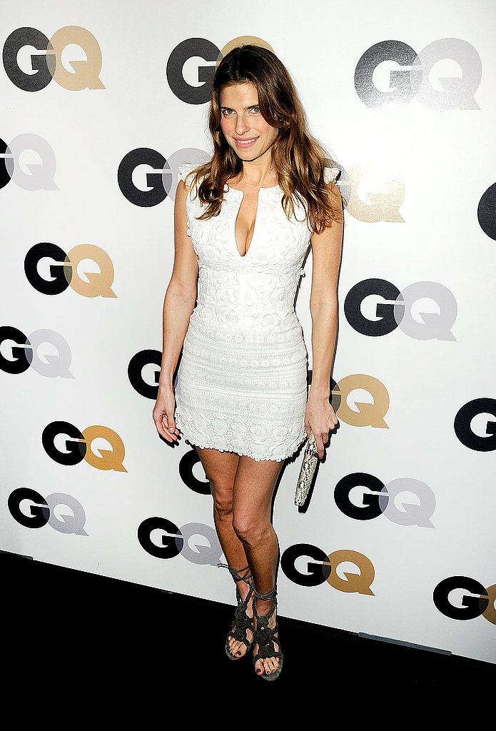 Lake Bell in a white dress.