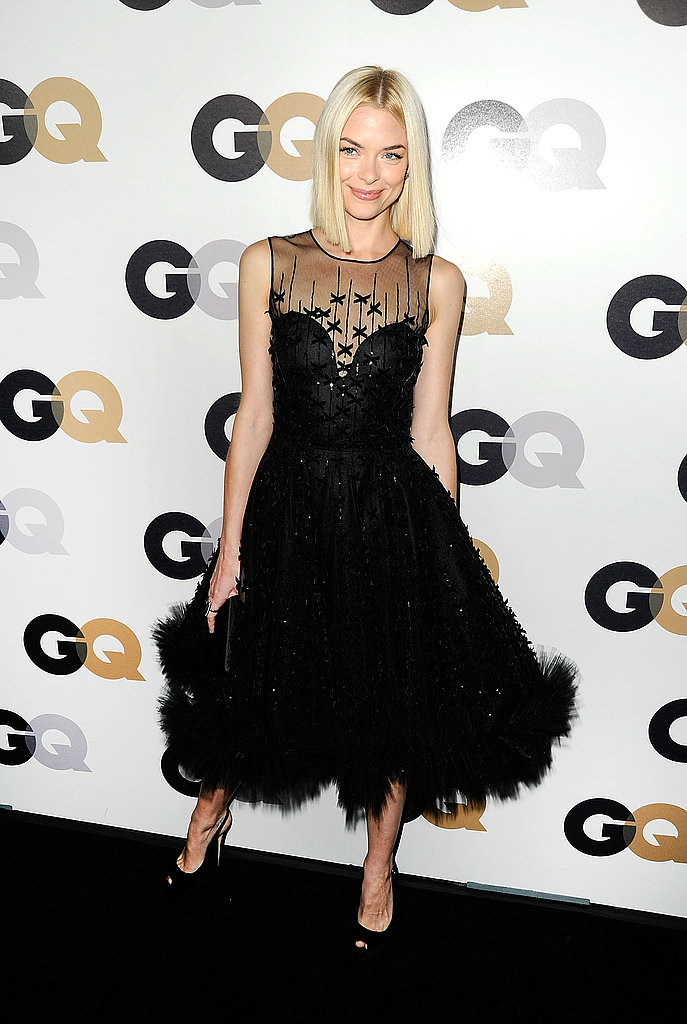 Jaime King wore a pretty, ruffled dress.