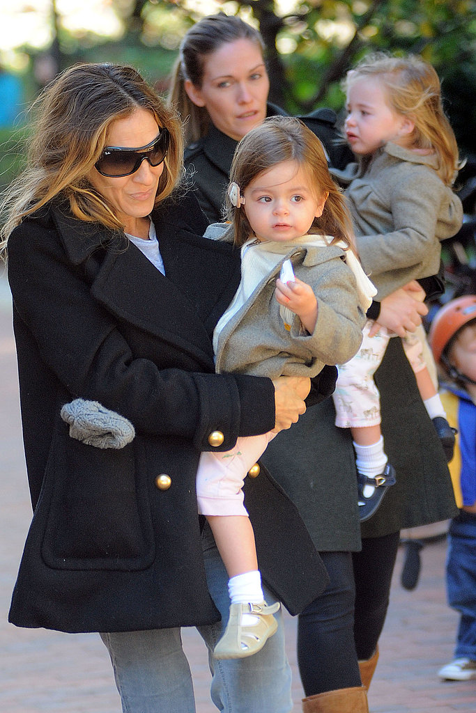 Sarah Jessica Parker in NYC with twins Tabitha Broderick and Loretta Broderick and a nanny.