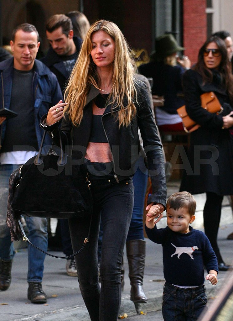 Gisele Bundchen left dinner with her son Benjamin Brady.