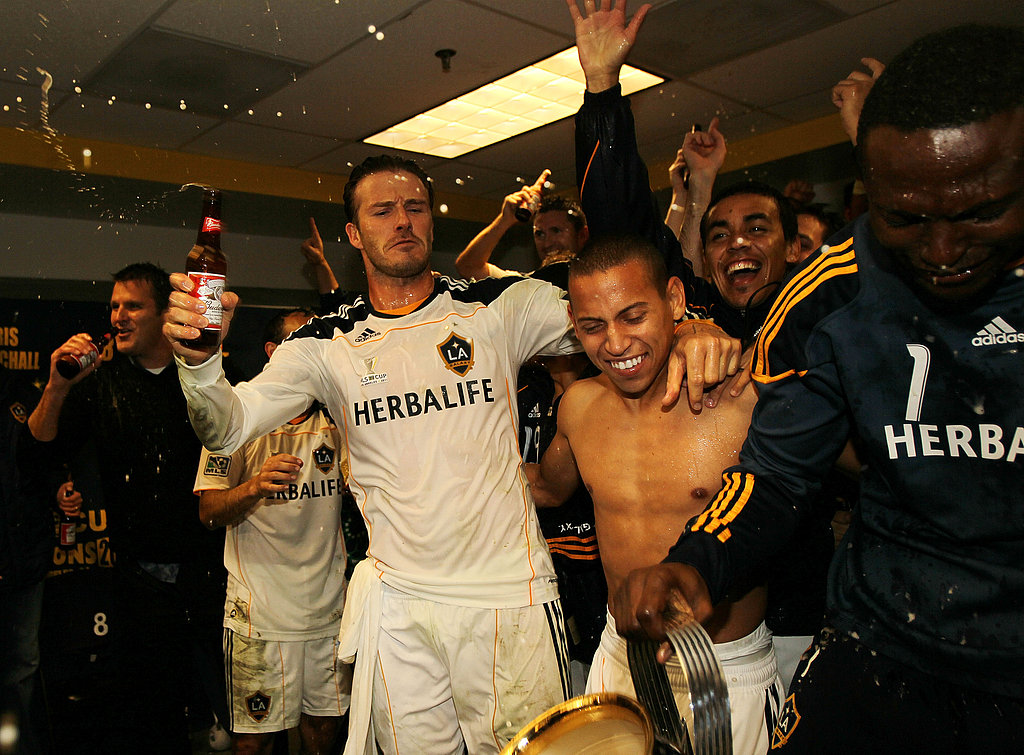 David Beckham had a celebratory drink with his teammates.