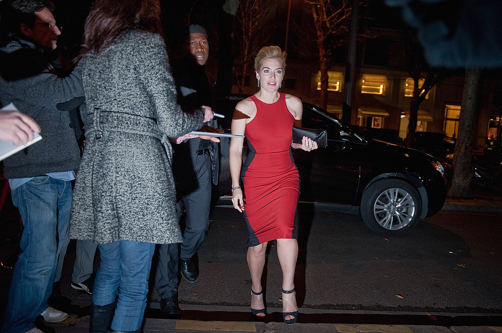 Kate Winslet arrived in style at the Paris premiere of Carnage.
