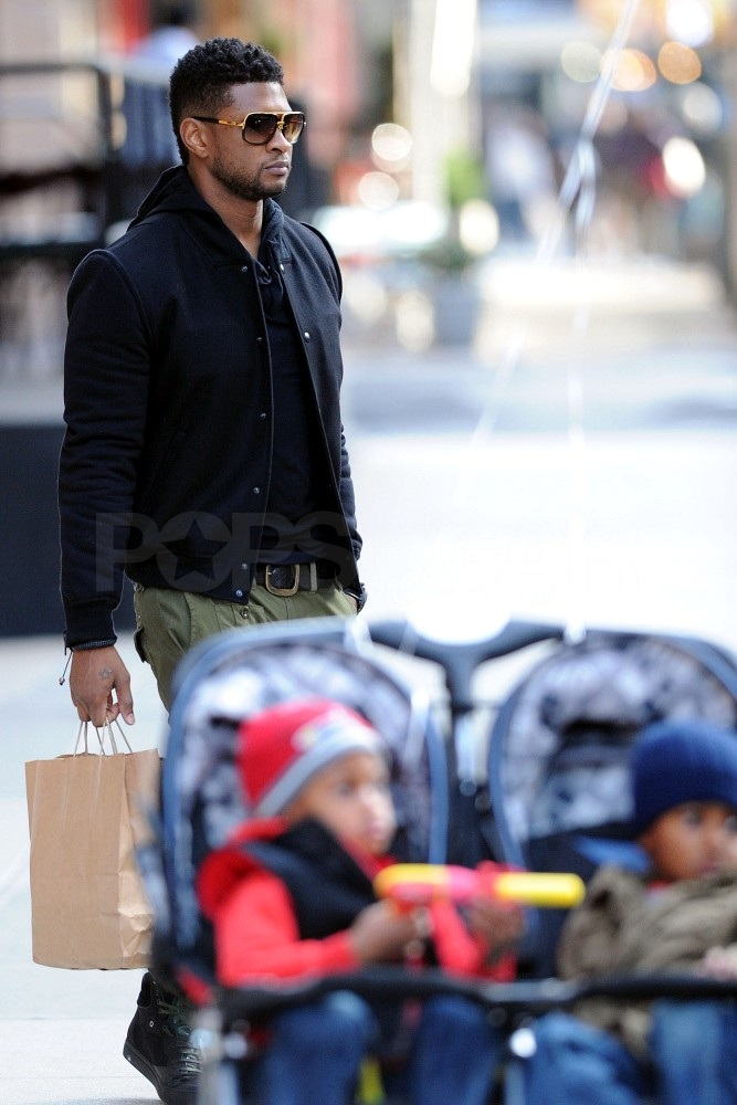 The boys accompanied Usher on errands around the Big Apple.