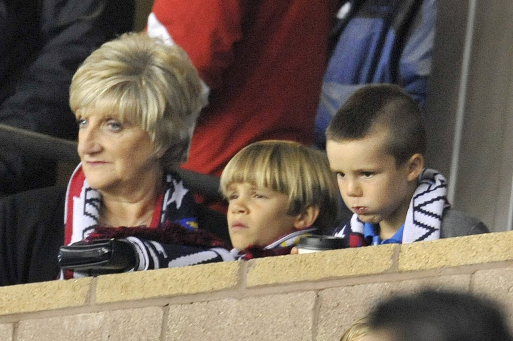 David Beckham's mom, Sandra, sat with grandsons Cruz and Romeo.