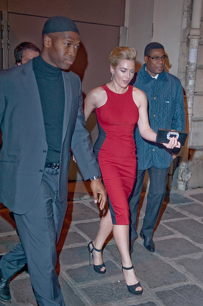 Kate Winslet left the Paris premiere of Carnage.