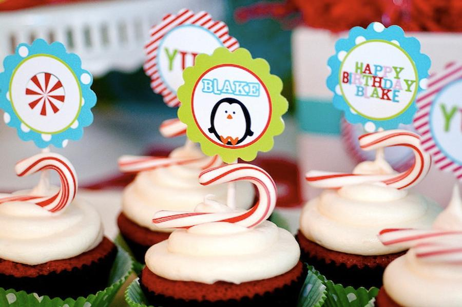 Winter Candy Land Birthday Cupcakes