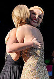 Katherine Heigl congratulates Taylor Swift with a big hug and smile.