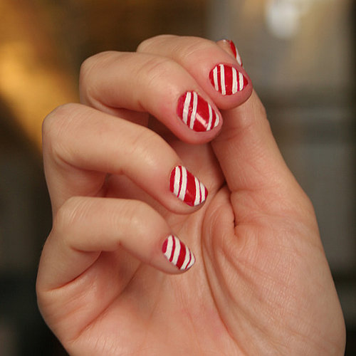 Deck the Halls With a Candy Cane Manicure