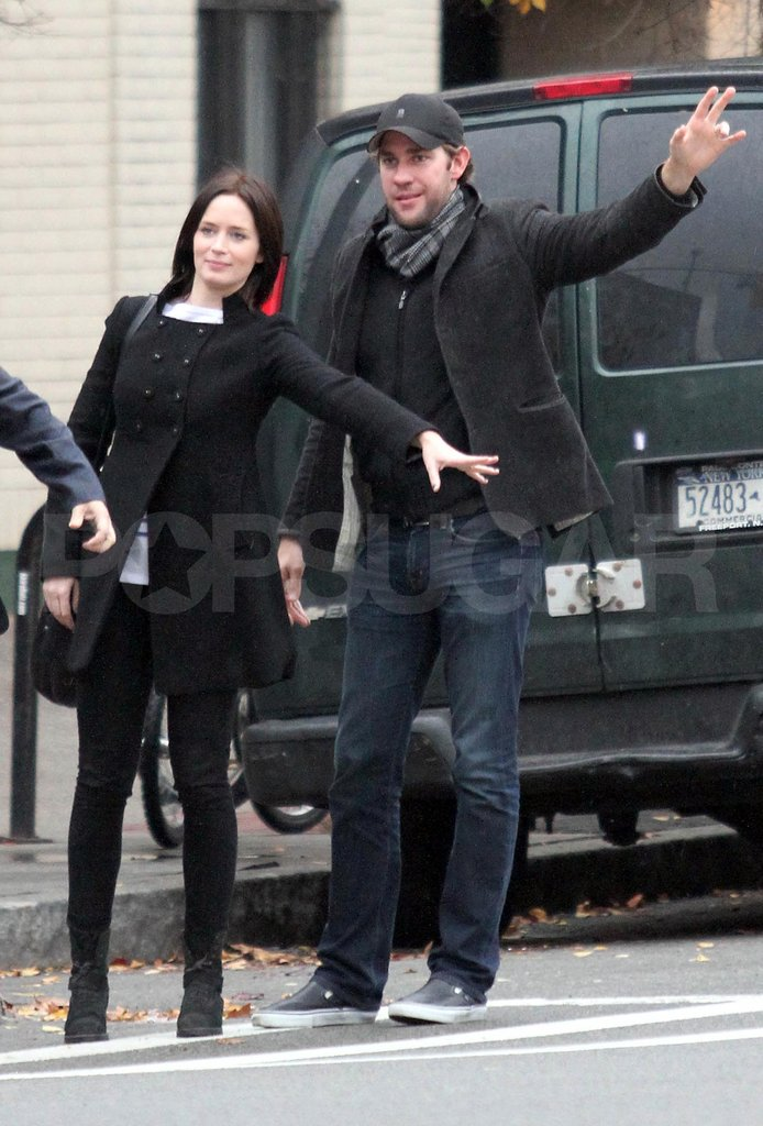Emily Blunt and John Krasinski caught a cab.