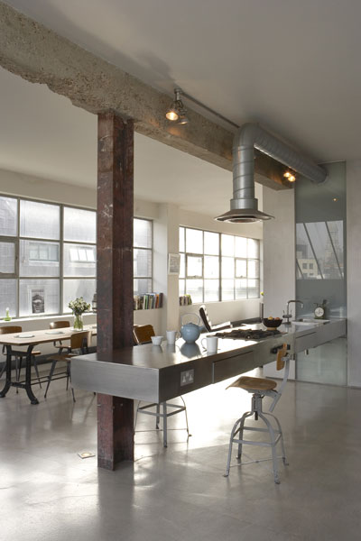 Bare industrial loft kitchen