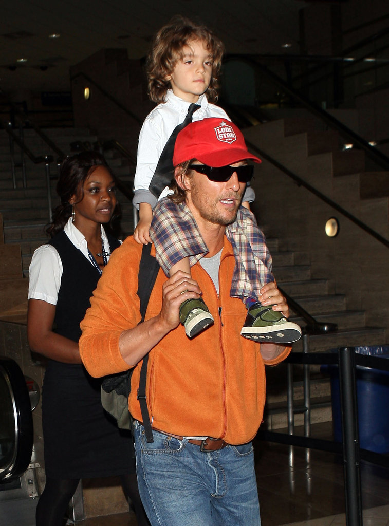 Matthew McConaughey was at LAX with his son Levi.