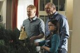 Jesse Tyler Ferguson as Mitchell, Ariel Winter as Alex, and Ed O'Neill as Jay on Modern Family.  Photo copyright 2011 ABC, Inc.