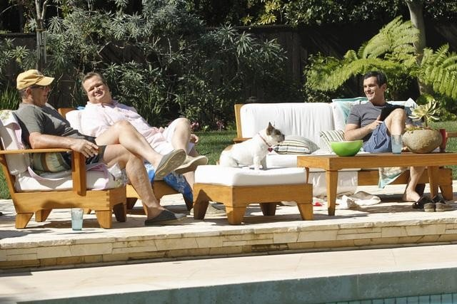 Ed O'Neill as Jay, Eric Stonestreet as Cam, and Ty Burrell as Phil on Modern Family.  Photo copyright 2011 ABC, Inc.
