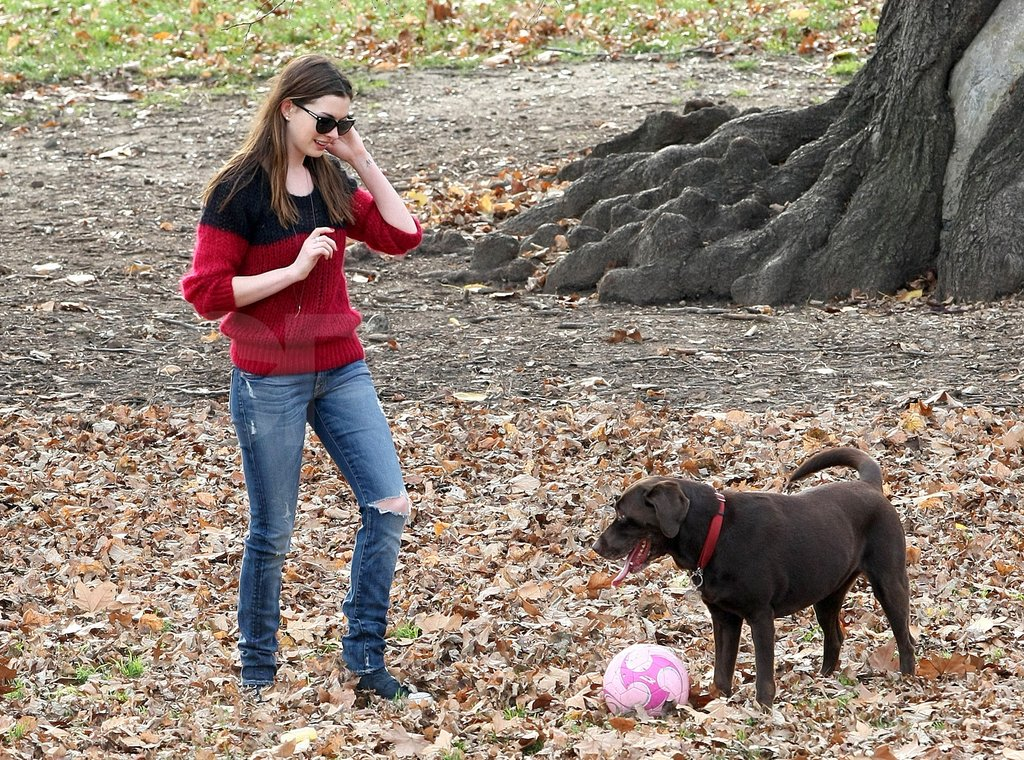 Anne Hathaway played fetch with Esmeralda.