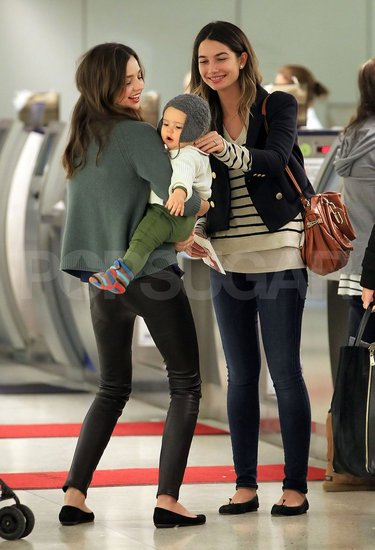 Miranda Kerr and Flynn Have a Model Run-In With Lily Aldridge