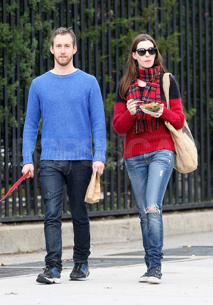 Anne Hathaway and Adam Shulman bundled up in sweaters for a day out in NYC.