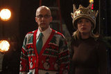 Britta and Dean Pelton look concerned as they watch from off stage.  Photo courtesy of NBC
