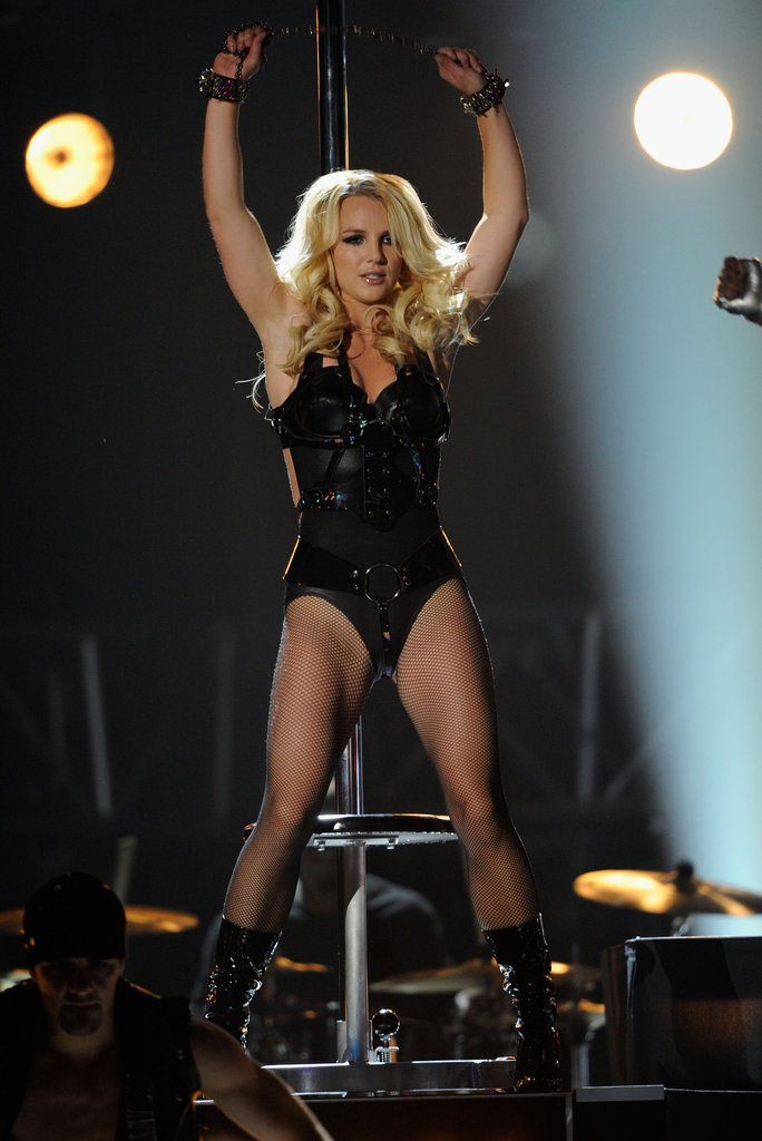 Britney Spears wore a skintight suit at the 2011 Billboard Music Awards in Las Vegas.