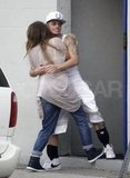 Jennifer Lopez and Casper Smart shared a big hug.