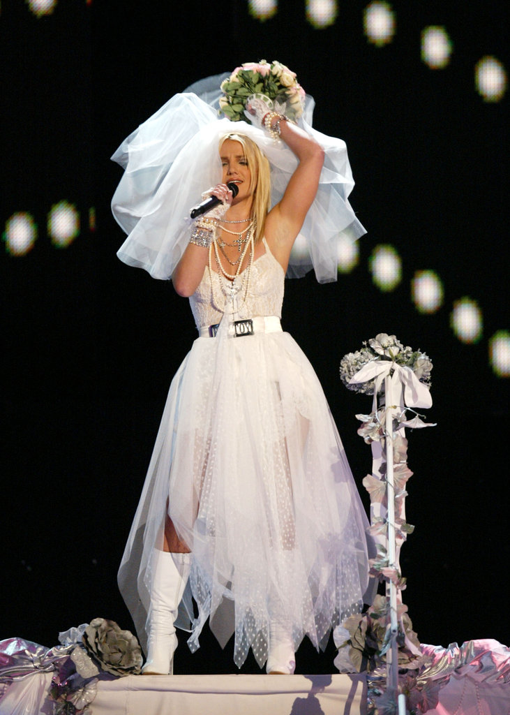 Her sexy bridal gear was on display at the 2003 MTV Video Music Awards.