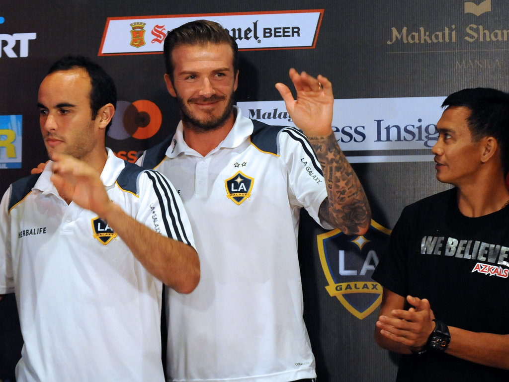 David Beckham and Landon Donovan were at a press conference in Manila on Dec. 1.