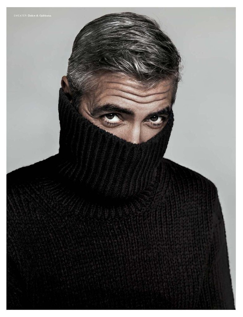 George Clooney masked his sexy face under a black sweater.