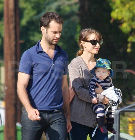 Natalie Portman, Benjamin Millepied, and Aleph Millepied together in Venice Beach, CA.