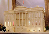 A replica of the White House made from 400-pounds of gingerbread, white chocolate, and marzipan is on display.