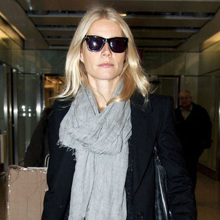Gwyneth Paltrow in Gray Scarf at Heathrow Pictures