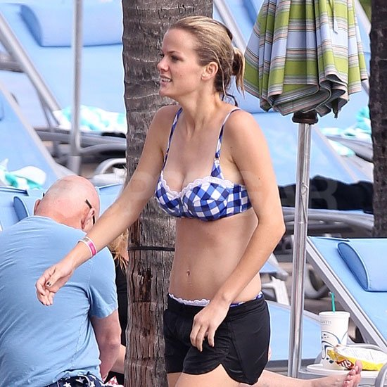 Brooklyn Decker wore a gingham bikini in the Bahamas.
